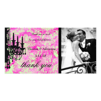 GC | Jolie Chandelier Lime Green Damask Thank You Picture Card
