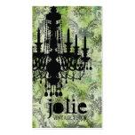 GC | Jolie Chandelier Lime Grey Damask Business Card
