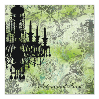 GC | Jolie Chandelier Lime Grey Damask Card