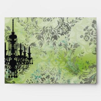 GC | Jolie Chandelier Lime Grey Damask Envelope