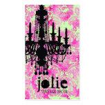 GC Jolie Chandelier Lime Pink Damask Business Cards