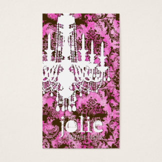 GC | Jolie Chandelier Pink Chocolate Damask Business Card