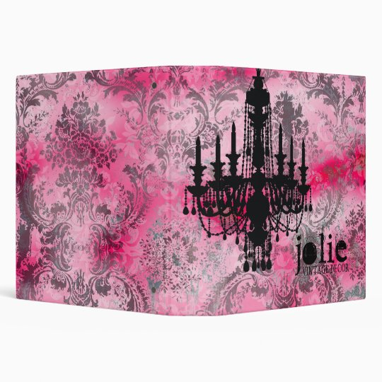 GC | Jolie Chandelier Pink Gray Damask 3 Ring Binder