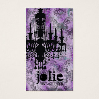 GC | Jolie Chandelier Pink Gray Damask Business Card