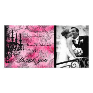 GC   Jolie Chandelier Pink Gray Damask Card