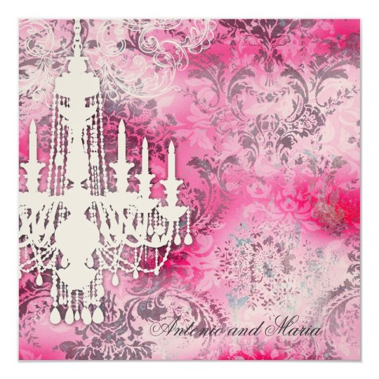 GC | Jolie Chandelier Pink Gray Damask Champagne M Card