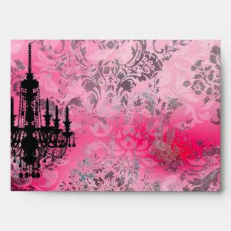 GC | Jolie Chandelier Pink Gray Damask Envelopes