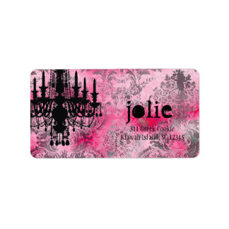 GC | Jolie Chandelier Pink Gray Damask Personalized Address Labels