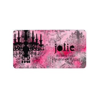 GC | Jolie Chandelier Pink Gray Damask Label