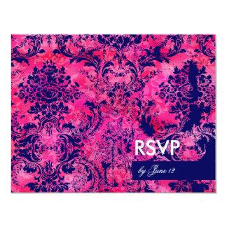 GC | Jolie Chandelier Pink Ink Damask RSVP Card