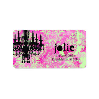 GC | Jolie Chandelier Pink Lime Damask Label