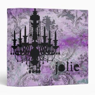 GC | Jolie Chandelier Purple Gray Damask 3 Ring Binder
