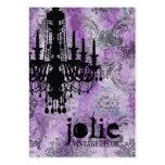 GC | Jolie Chandelier Purple Gray Damask Business Cards