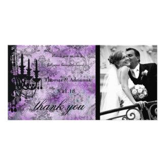 GC   Jolie Chandelier Purple Gray Damask Card