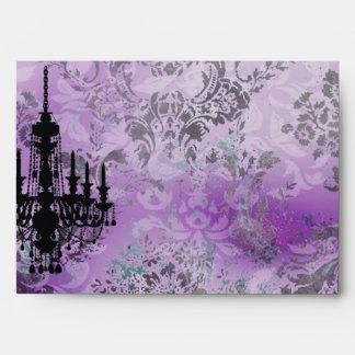 GC | Jolie Chandelier Purple Gray Damask Envelope