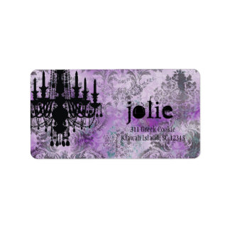 GC | Jolie Chandelier Purple Gray Damask Custom Address Labels