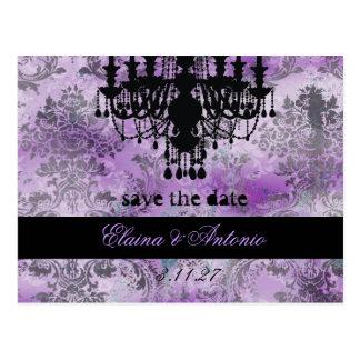 GC | Jolie Chandelier Purple Gray Damask Postcard