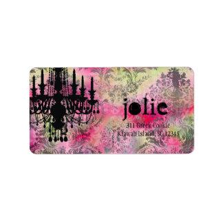 GC | Jolie Chandelier Rainbow Damask Custom Address Labels