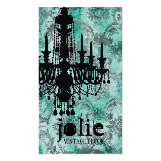 GC | Jolie Chandelier Turquoise  Grey Damask Double-Sided Standard Business Cards (Pack Of 100)