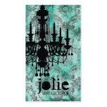 GC | Jolie Chandelier Turquoise  Grey Damask Business Card