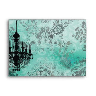 GC | Jolie Chandelier Turquoise Grey Damask Envelope