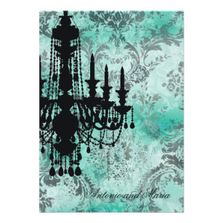 GC | Jolie Chandelier Turquoise Grey Damask Personalized Invitations
