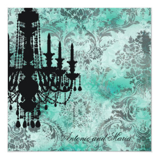 GC | Jolie Chandelier Turquoise Grey Damask Custom Invitations
