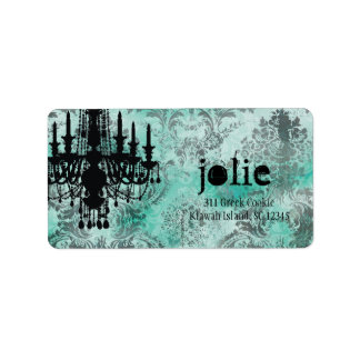 GC | Jolie Chandelier Turquoise Lime Damask Personalized Address Label