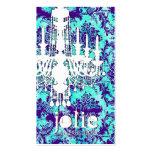 GC | Jolie Chandelier Turquoise Purple Damask Business Card Template