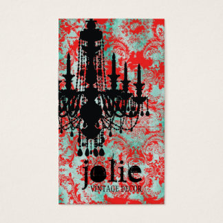 GC | Jolie Chandelier Turquoise Red Damask Business Card