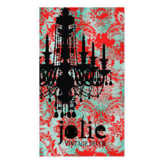 GC | Jolie Chandelier Turquoise Red Damask Business Card Template