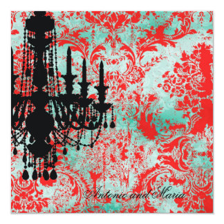 GC | Jolie Chandelier Turquoise Red Damask Card