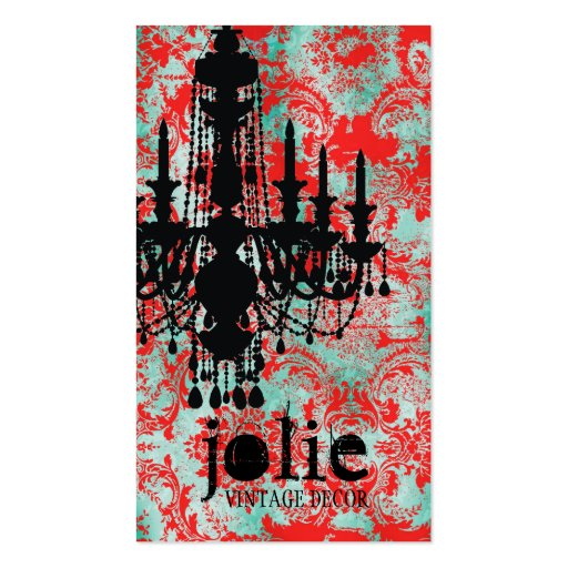 GC | Jolie Chandelier Turquoise Red Damask Double-Sided Standard Business Cards (Pack Of 100)