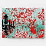 GC | Jolie Chandelier Turquoise Red Damask Envelopes