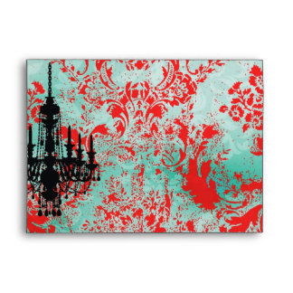 GC | Jolie Chandelier Turquoise Red Damask Envelope
