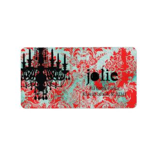 GC | Jolie Chandelier Turquoise Red Damask Address Label