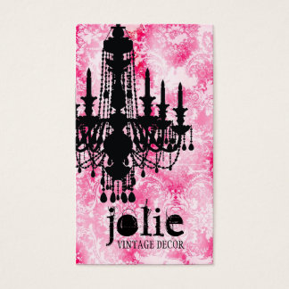 GC Jolie Chandelier White Pink Damask Business Card