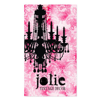 GC Jolie Chandelier White Pink Damask Business Cards