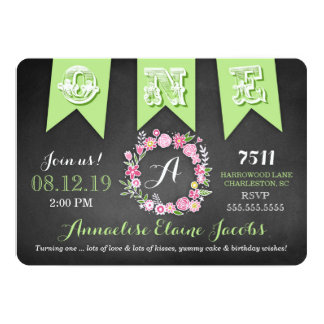 GC Lime Girl First Birthday Banner Chalkboard Card