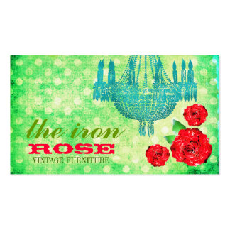 GC Lime Vintage Rose Dots Double-Sided Standard Business Cards (Pack Of 100)