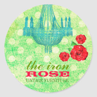 GC Lime Vintage Rose Dots Business Card Classic Round Sticker