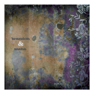 GC Lusciously Rustic DarkPurple Flower Metallic Personalized Invites