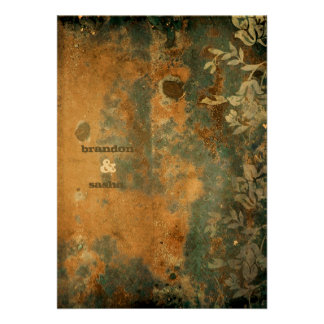 GC Lusciously Rustic w flower Golden Metallic Personalized Invite