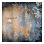 GC | Lusciously Rustic w/flower | Golden Metallic 5.25x5.25 Square Paper Invitation Card