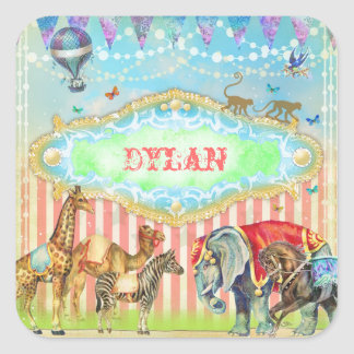 GC Magical Join the Circus Vintage Blue Square Sticker