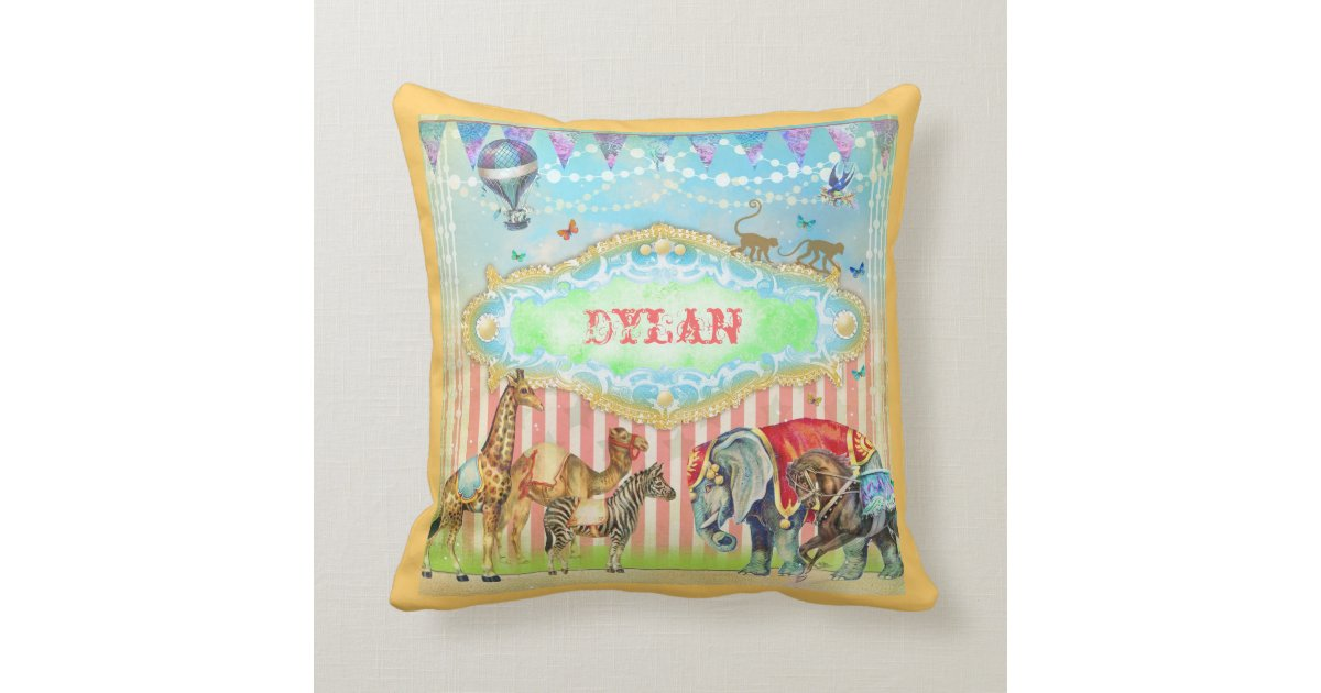 Vintage Blue Throw Pillows : GC Magical Join the Circus Vintage Blue Throw Pillow Zazzle