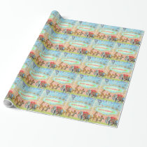GC Magical Join the Circus Vintage Blue Wrapping Paper