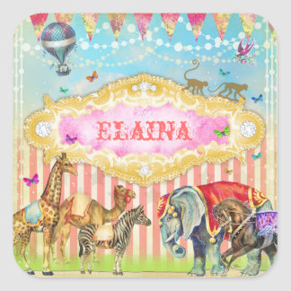 GC Magical Join the Circus Vintage Square Stickers