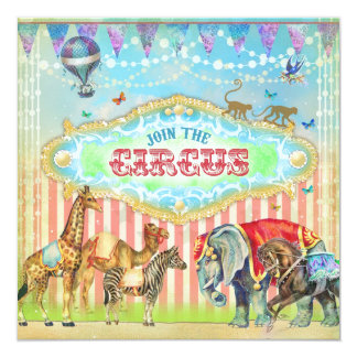 """GC Magical Join the Circus Vintage Stripes Boy 5.25"""" Square Invitation Card"""