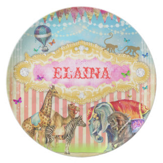 GC Magical Join the Circus Vintage Stripes Pink Gi Dinner Plate